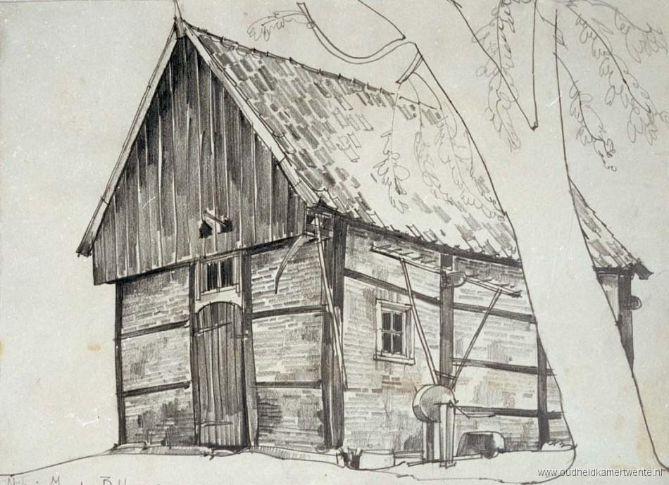 Bakhuis op het erve Nijhuis, Mander, gem. Tubbergenlandelijke bouwkunst 1930 J. Jans Potloodtekening op wit papier